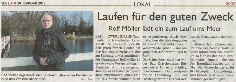 Zeitungsartikel: Laufen für den guten Zweck - Rolf Möller lädt ein zum Lauf ums Meer